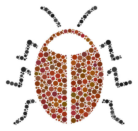 Bug mosaic of round dots in various sizes and color shades. Dots are grouped into bug vector composition. Vector design concept.