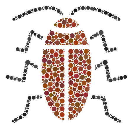 Cockroach mosaic of round dots in variable sizes and color hues. Circle dots are organized into cockroach vector illustration. Vector illustration.