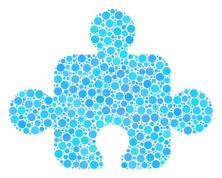 Component composition of round dots in variable sizes and color shades. Round dots are combined into component vector mosaic. Vector design concept. Illustration