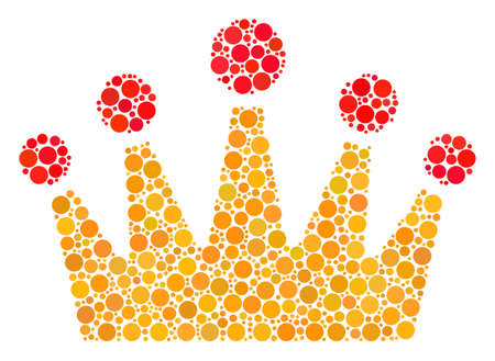 Crown collage of circle dots in different sizes and color shades. Circle dots are grouped into crown vector collage. Vector design concept.