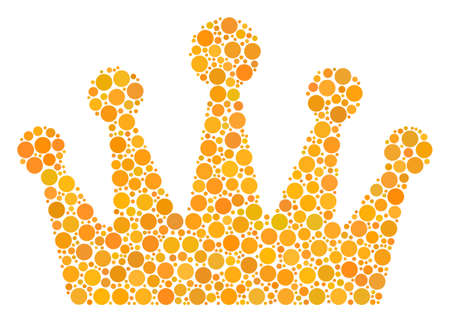 Crown collage of filled circles in different sizes and color tones. Round dots are organized into crown vector illustration. Vector illustration. Illustration