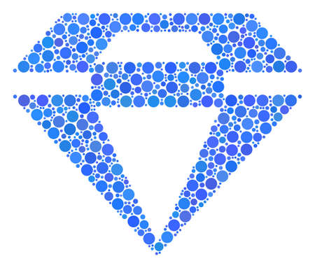 Diamond composition of round dots in different sizes and color tinges. Round dots are combined into diamond vector illustration.