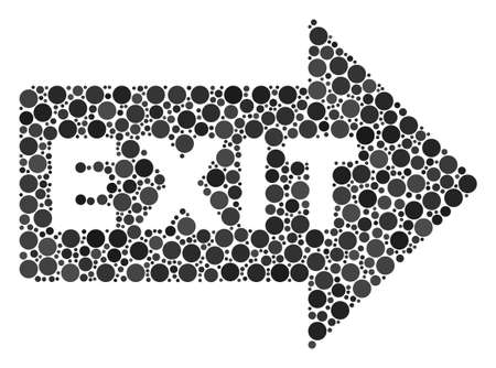 Exit Arrow mosaic of dots in different sizes and color hues. Circle elements are composed into exit arrow vector composition. Vector illustration.