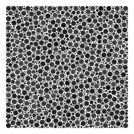Filled Square collage of circle dots in variable sizes and color shades. Round dots are organized into filled square vector composition. Vector illustration.