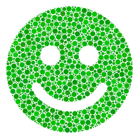 Glad Smile mosaic of dots in various sizes and color shades. Circle elements are united into glad smile vector illustration. Vector illustration.