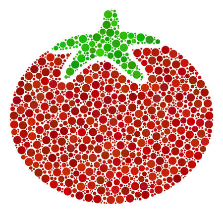 Tomato Vegetable mosaic of round dots in various sizes and color hues. Circle dots are grouped into tomato vegetable vector composition. Vector illustration.