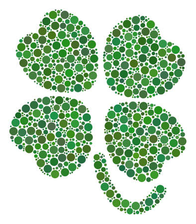 Four-Leafed Clover composition of dots in various sizes and color hues. Filled circles are organized into four-leafed clover vector mosaic. Vector illustration.