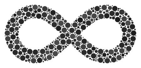 Infinity composition of round dots in different sizes and color hues. Filled circles are organized into infinity vector collage. Vector design concept.