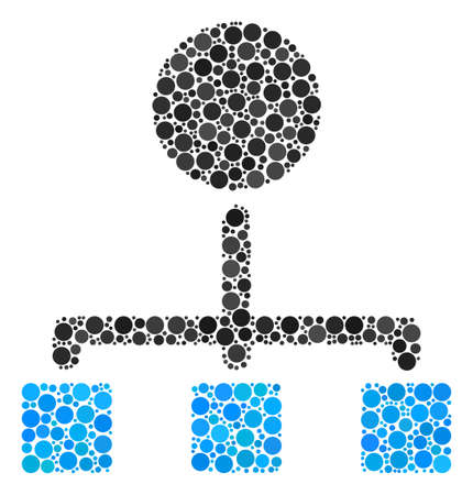 Hierarchy collage of dots in various sizes and color hues. Round dots are organized into hierarchy vector mosaic. Vector design concept.