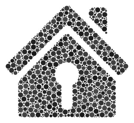 Home Keyhole mosaic of circle dots in variable sizes and color tinges. Round dots are united into home keyhole vector mosaic. Vector design concept.