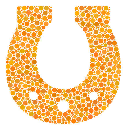 Horseshoe composition of dots in various sizes and color tints. Round dots are composed into horseshoe vector mosaic. Vector illustration.