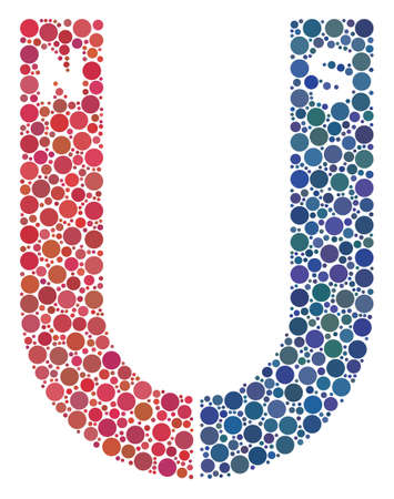 Horseshoe Magnet mosaic of circle dots in variable sizes and color.