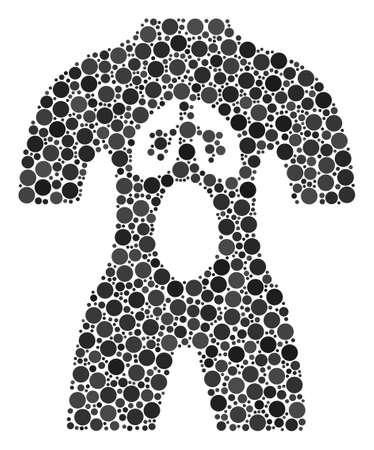 Human Anatomy mosaic of dots in different sizes and color tones. Dots are united into human anatomy vector composition. Vector design concept.