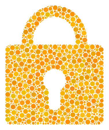 Lock mosaic of circle dots in various sizes and color tints. Round dots are composed into lock vector illustration. Vector illustration.