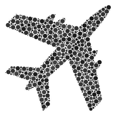 Jet Plane collage of circle dots in different sizes and color hues. Circle dots are organized into jet plane vector composition. Vector illustration.