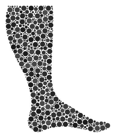 Leg mosaic of dots in variable sizes and color tones. Circle elements are combined into leg vector composition. Vector illustration.