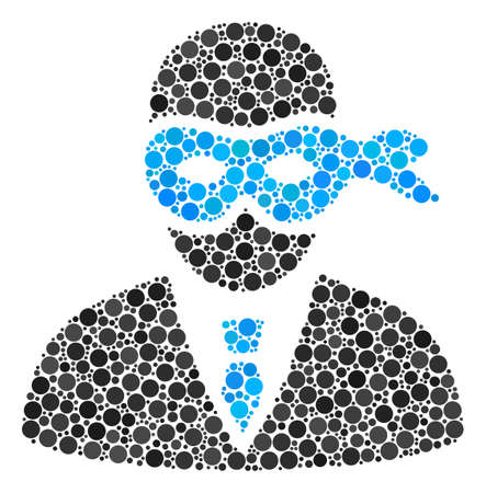 Masked Thief collage of round dots in variable sizes and color hues. Round dots are combined into masked thief vector composition. Vector design concept. Illustration