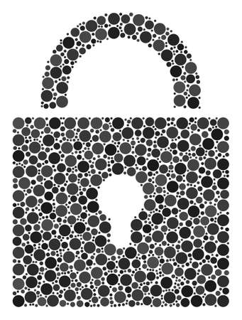 Lock collage of filled circles in various sizes and color tints. Circle elements are organized into lock vector composition. Vector design concept.