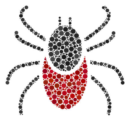 Mite Tick mosaic of circle dots in different sizes and color hues. Circle dots are combined into mite tick vector mosaic. Vector illustration.