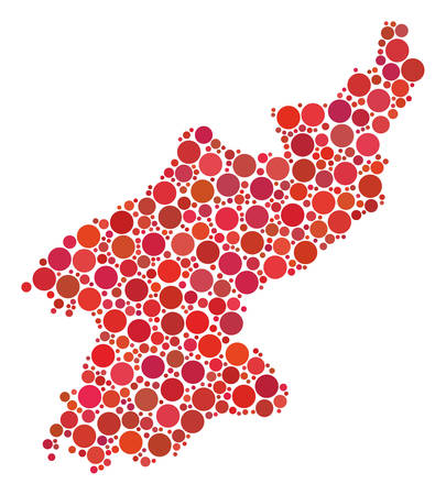 North Korea Map collage of round dots in different sizes and color tones. Circle elements are grouped into north korea map vector illustration. Vector design concept.
