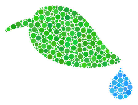 Natural Leaf With Drop composition of round dots in different sizes and color shades. Circle elements are united into natural leaf with drop vector composition. Vector illustration.