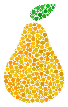 Pear collage of round dots in different sizes and color tints. Round dots are combined into pear vector mosaic. Vector design concept. Illustration