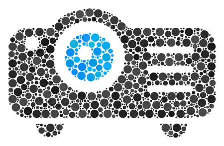 Projector composition of filled circles in variable sizes and color tones. Circle elements are composed into projector vector collage. Vector illustration.