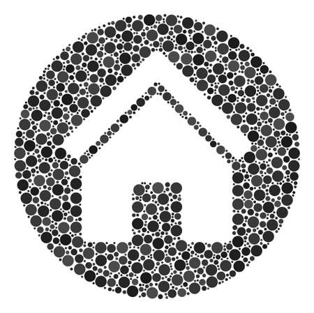 Real Estate composition of dots in various sizes and color tones. Round dots are combined into real estate vector composition. Vector illustration.