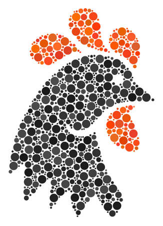 Rooster Head mosaic of dots in different sizes and color tinges. Circle elements are grouped into rooster head vector mosaic. Vector design concept. 일러스트