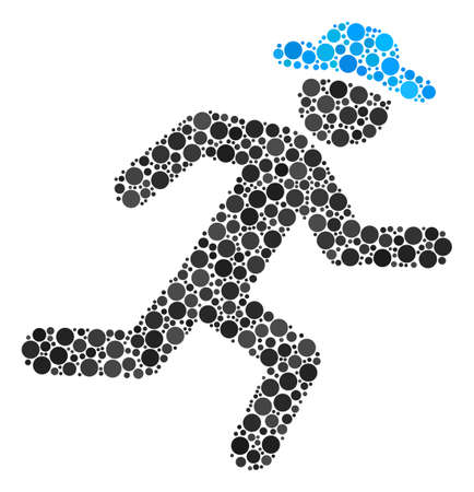 Running Gentleman collage of filled circles in different sizes and color hues. Round dots are grouped into running gentleman vector illustration. Vector design concept. Ilustrace
