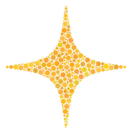 Space Star mosaic of dots in various sizes and color hues. Filled circles are combined into space star vector illustration. Vector illustration. Illustration