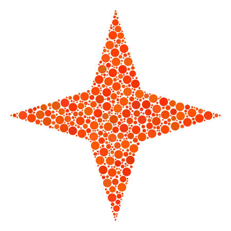 Space Star collage of dots in variable sizes and color tints. Circle dots are organized into space star vector composition. Vector illustration.