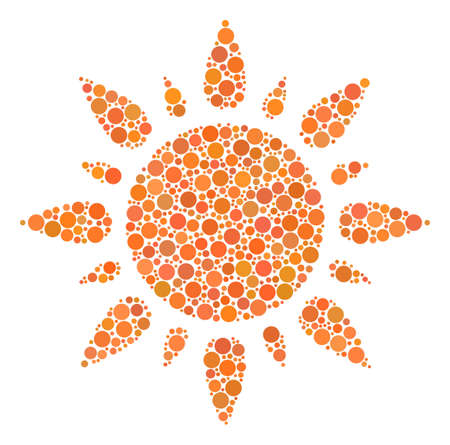 Sun composition of circle dots in variable sizes and color shades. Dots are combined into sun vector collage. Vector design concept.