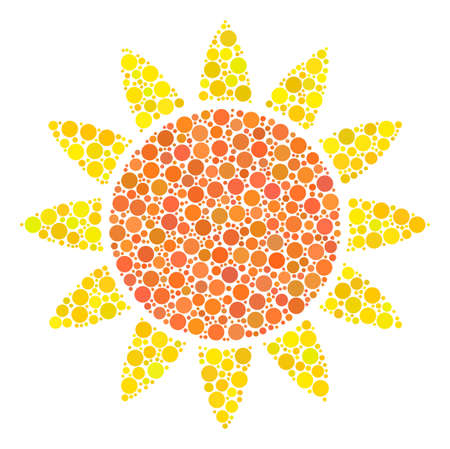 Sun composition of round dots in different sizes and color hues. Dots are united into sun vector mosaic. Vector illustration. Illustration