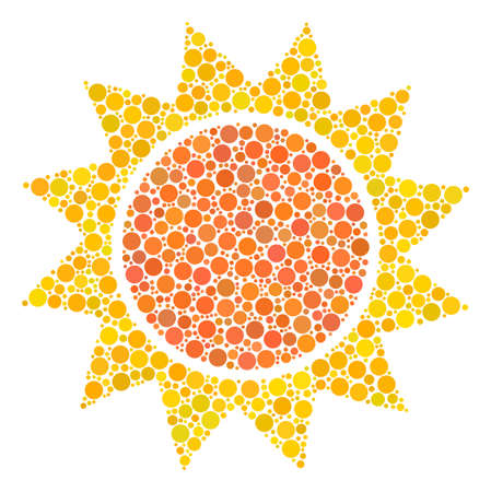 Sun composition of filled circles in various sizes and color tones. Dots are grouped into sun vector illustration. Vector illustration. Illustration