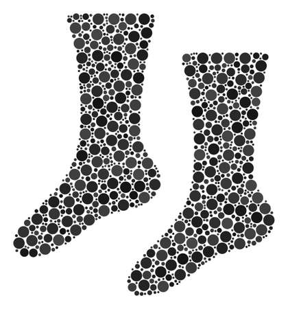 Socks composition of dots in variable sizes and color tints. Filled circles are composed into socks vector mosaic. Vector illustration.