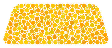 Treasure Brick collage of circle dots in variable sizes and color tones. Dots are combined into treasure brick vector collage. Vector design concept.