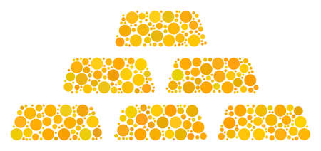 Treasure Bricks mosaic of dots in variable sizes and color tinges. Dots are grouped into treasure bricks vector illustration. Vector design concept. Illustration