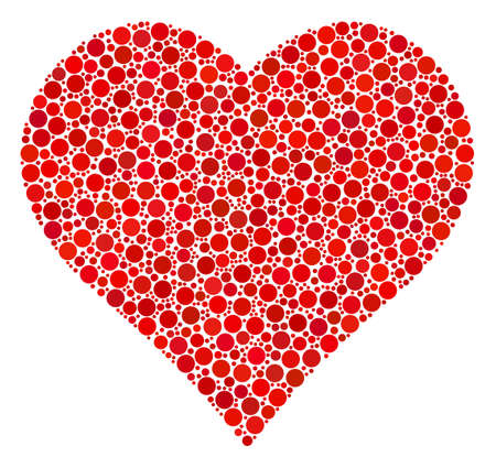 Valentine Heart collage of round dots in variable sizes and color hues. Round dots are grouped into valentine heart vector mosaic. Vector illustration.