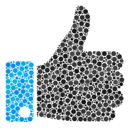 Thumb Up mosaic of circle dots in variable sizes and color shades. Circle dots are grouped into thumb up vector illustration. Vector illustration. Illustration