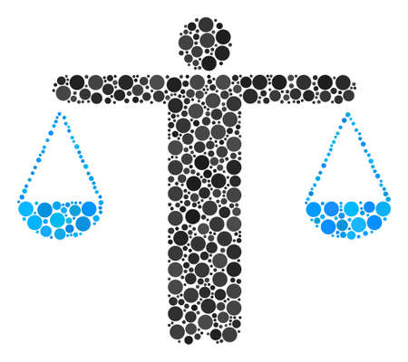 Weight Comparing Person composition of round dots in different sizes and color tinges. Dots are grouped into weight comparing person vector collage. Vector illustration.