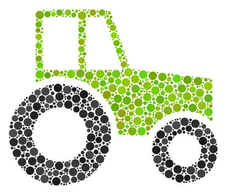 Wheeled Tractor collage of filled circles in various sizes and color tones. Circle elements are composed into wheeled tractor vector collage. Vector design concept.