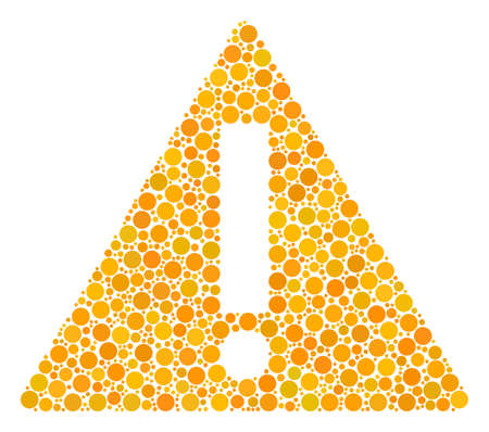 Warning collage of dots in variable sizes and color hues. Filled circles are composed into warning vector illustration. Vector illustration.