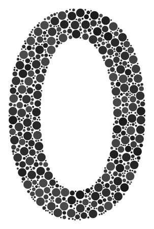 Mosaïque de points à zéro chiffre de tailles et de couleurs variables. Les éléments du cercle sont composés d'une illustration vectorielle à zéro chiffre.