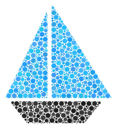 Yacht collage of round dots in variable sizes and color tints. Round dots are organized into yacht vector illustration. Vector design concept.