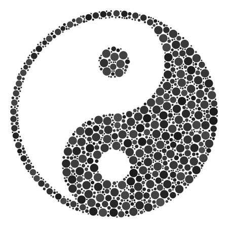 Yin Yang composition of circle dots in various sizes and color shades. Dots are composed into yin yang vector composition. Vector illustration.