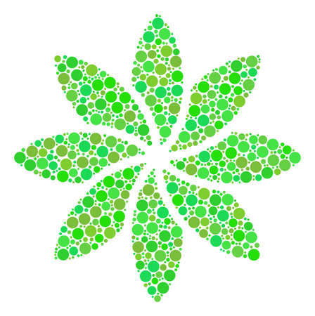 Abstract Flower composition of filled circles in various sizes and green color tints. Raster round dots are organized into abstract flower collage. Ecology raster illustration.