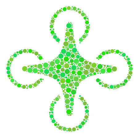 Air Drone collage of dots in various sizes and eco green color tinges. Raster dots are composed into air drone collage. Ecology design concept.