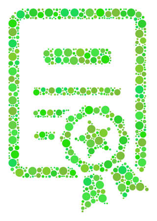 Certificate mosaic of filled circles in different sizes and fresh green color tinges. Raster dots are united into certificate mosaic. Eco raster illustration. Stock Photo
