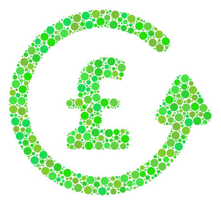 Chargeback Pound mosaic of circle elements in different sizes and eco green color tinges. Raster round dots are grouped into chargeback pound mosaic. Eco raster illustration. Stok Fotoğraf